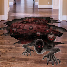 3D Scary Halloween Pumpkin Skull Floor Decals Living Room Pub Decoration Supplies PVC Removable Wall Stickers