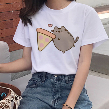 Kawaii Print Cat T Shirts Women Harajuku Cute T-shirt 90s Cartoon Tshirt Graphic Top Tees Female