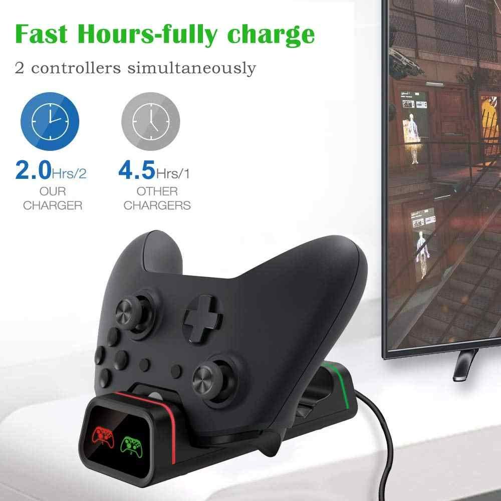 Для Xbox One/S/X контроллер зарядное устройство, GYORGKSHI двойная консоль зарядная док-станция Подставка с 2x800 мАч перезаряжаемая батарея