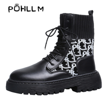 PUHLLM Women's Ankle Boots Shoes Female Winter Black Lace-Up Good Quality Footwear Ladies For Autumn Free ShippF77