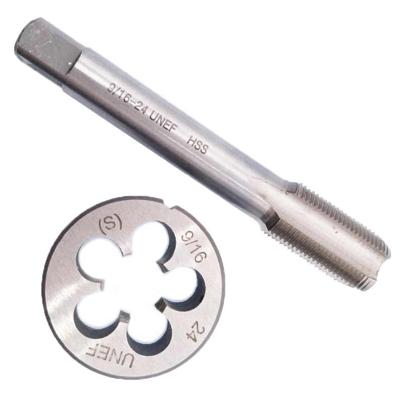 High Speed Steel Right Hand 9//16-24 UNEF Tap 90mm  9//16-24 UNEF Die 38mm Tools