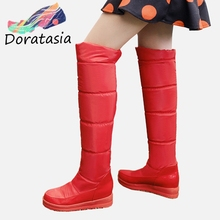 DORATASIA 34-43 Winter non-slip Warm Fur Boots Ladies Platform Knee High Snow Boots Women 2019 Waterproof Wedges Shoes Woman цена