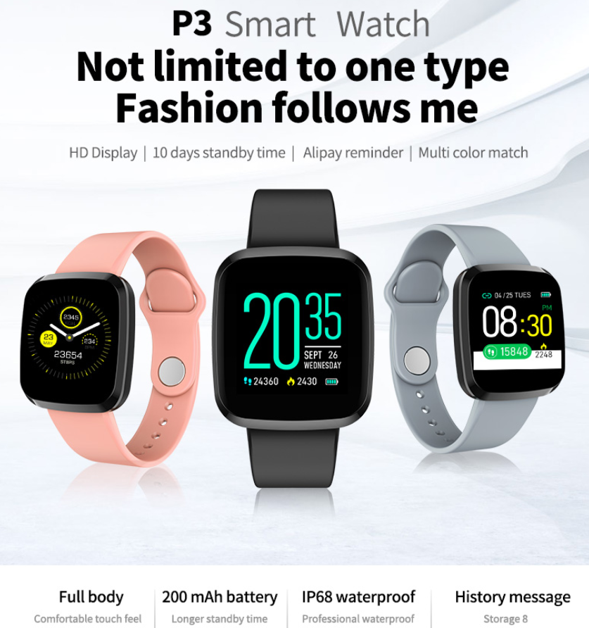 <font><b>P3</b></font> <font><b>Smart</b></font> <font><b>Watch</b></font> Men Women IP67 Waterproof Sleep Heart Rate Blood Pressure Monitor Sport Fitness Tracker Remote Camera Stopwatch image