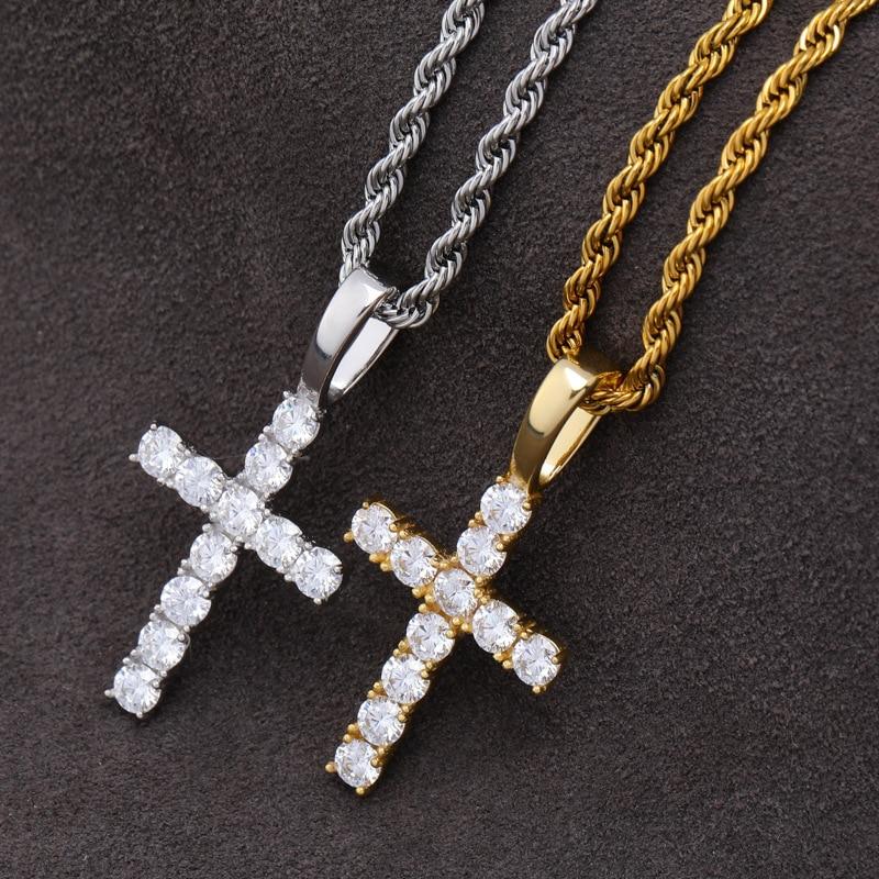 DNSCHIC S925 pendentif en argent Sterling avec Micro-mousse pierre solide croix pendentif Vintage jésus Hip hop bijoux glacé sur collier - 2