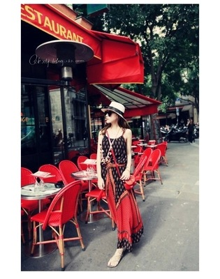 Summer Small Pepper Paris Red Ethnic-Style Strap Dress Floral Printed Dress Beach Holiday Skirt