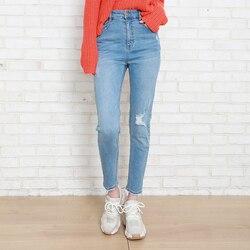 Осень зима женские джинсовые узкие брюки стрейч Высокая талия вымытые синие разрушить/рваные тонкие эластичные женские джинсы