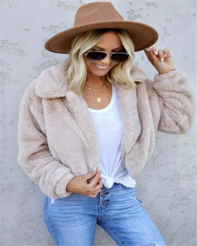 Plus Size Women's Teddy Bear Winter Warm Thick Fluffy Coat Lapel Fleece Fur Casual Short Jacket Top Vintage Solid Clothes S-3XL