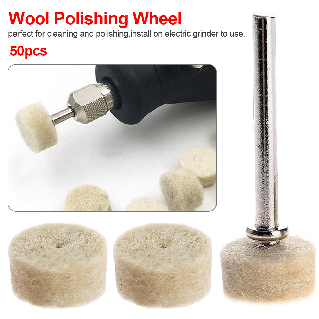 50pcs Buffing Wheel With 2Pcs 3.2mm Mandrel For Rotary Tool Grinding Polishing Pad Wool Felt Polishing