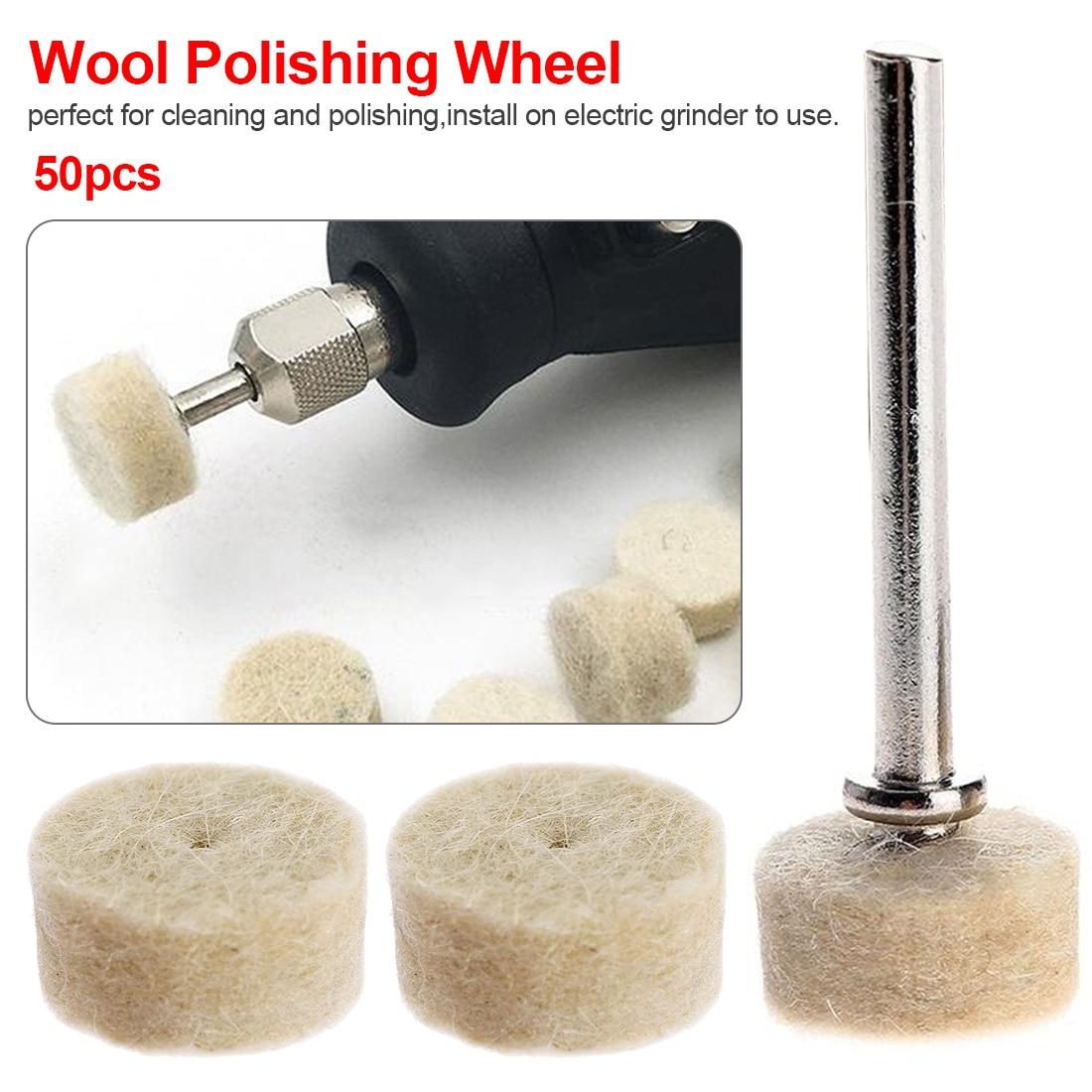 50pcs Buffing Wheel With 2Pcs 3.2mm Mandrel For Rotary Tool Grinding Polishing Pad Wool Felt Polishing