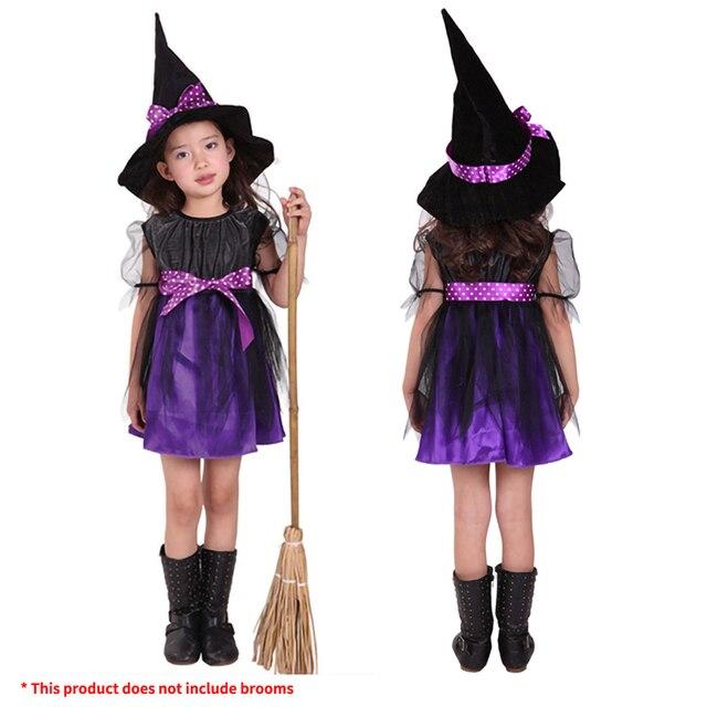 Kids Children Girls Halloween Witch Dress+Hat Children's Day Princess Party Dresses Carnival Cosplay Costume Halloween Costume 2