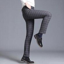 Мужские брюки, клетчатые, деловые, повседневные, облегающие, длина по щиколотку, панталоны, мужские, классические, винтажные, клетчатые, костюм, брюки, свадебные, K205