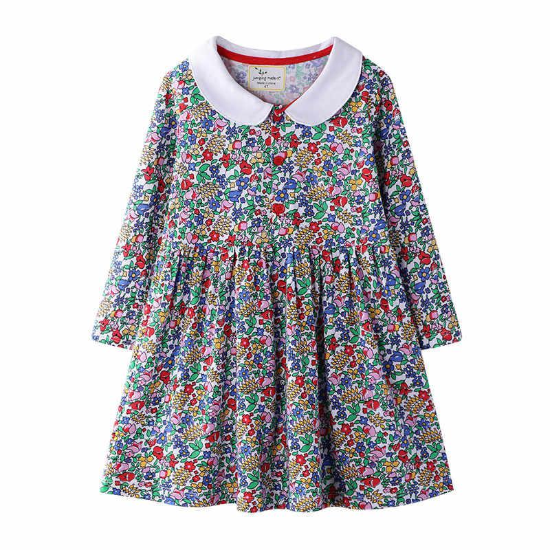 Vestidos de princesa de los metros saltarines, ropa Floral para niñas bebés, vestidos de manga larga con cuello y tutú de flores para fiesta, vestido para niños y niñas