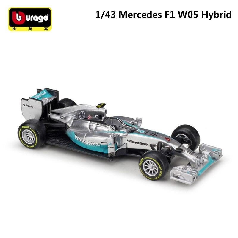 Bburago 1:43 Scale Mini Metal Diecast F1 Car Formulaa 1 Model Mercedes Benz Racing Car W05/W07 Alloy Toy Car Collection Kid Gift