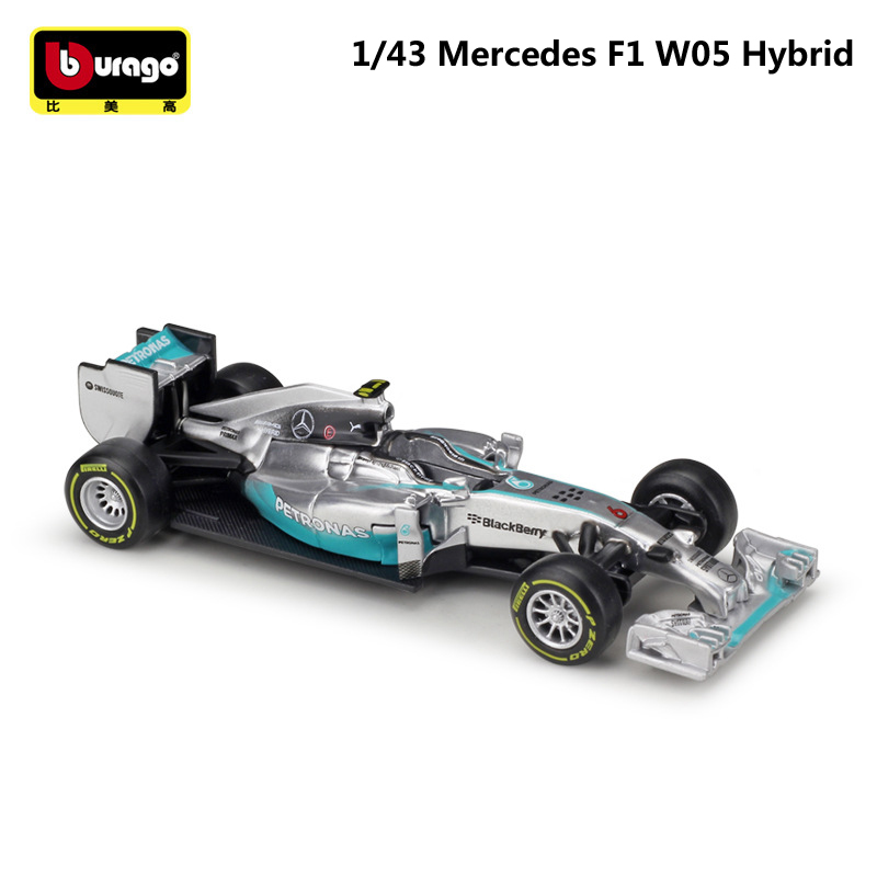 Bburago <font><b>1:43</b></font> Scale Mini Metal Diecast <font><b>F1</b></font> Car Formulaa 1 Model <font><b>Mercedes</b></font> Benz Racing Car W05/W07 Alloy Toy Car Collection Kid Gift image