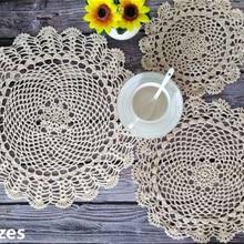 3 tamaños Vintage Crochet encaje flores posavasos tapete comedor mesa de centro mantel Navidad boda servilletas tela Cocina