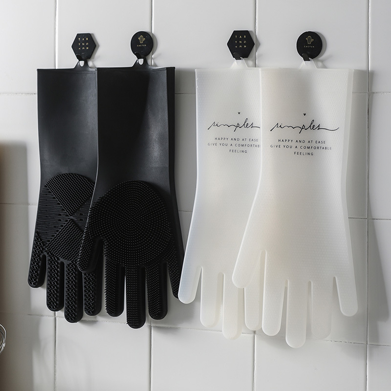 1pair Gloves Hanging Type Waterproof Cleaning Gloves Kitchen Silicone Cleaning Gloves Dish Glove Scrubber Kitchen Clean Tools in Household Gloves from Home Garden