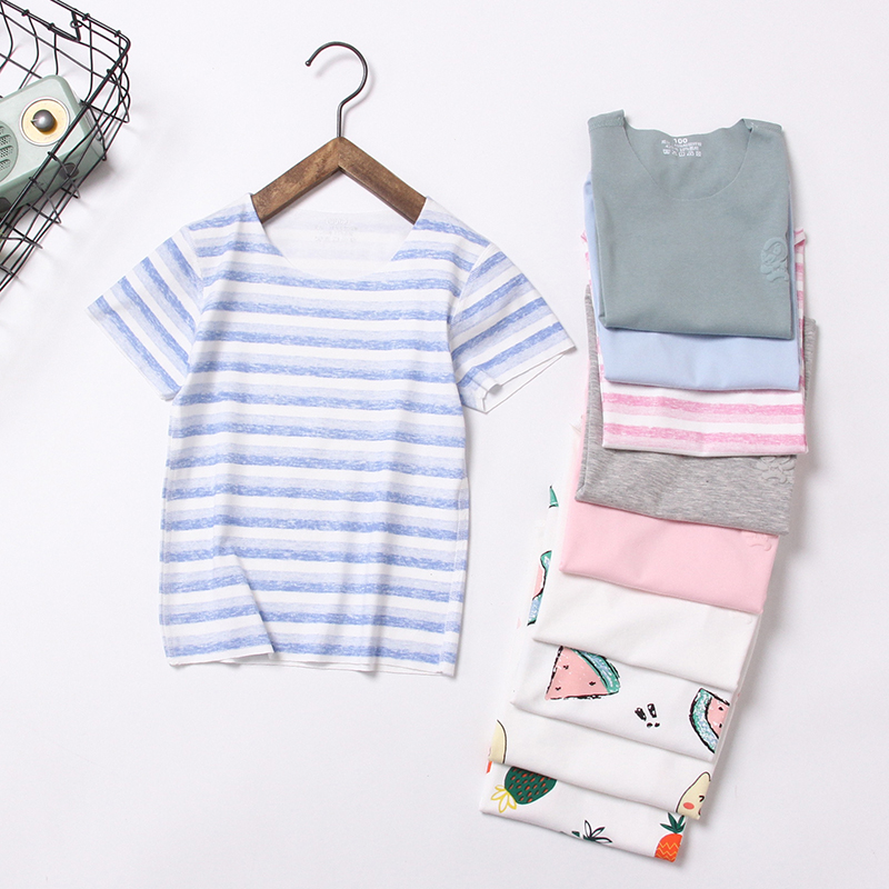 New Summer Children T-shirts Classic Seamless Baby Child Tops Tees For Boys & Girls 2-10Y Striped Cotton Kids Shirts