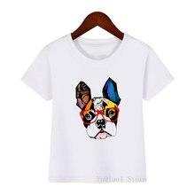 Детская футболка с принтом французского бульдога и очков летняя