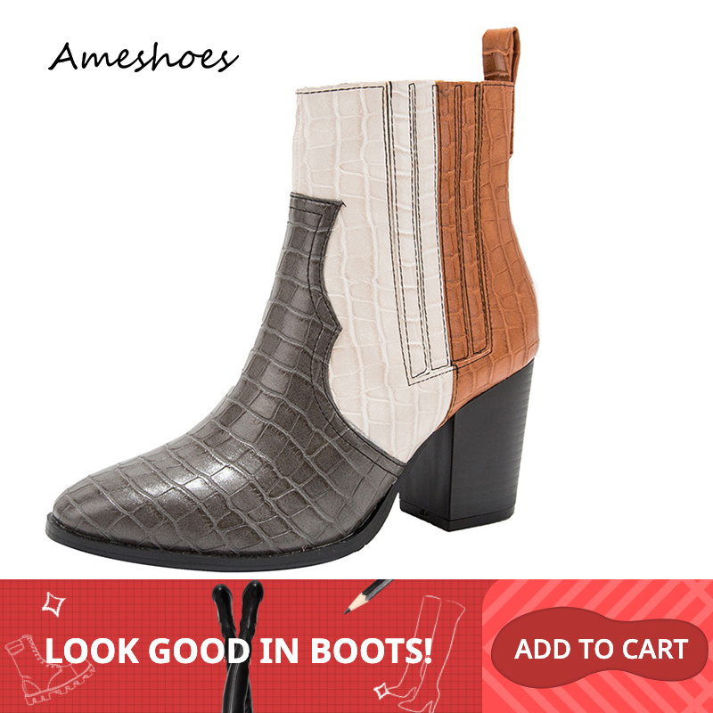 2019 Fashion Short Boots 8CM Thick High Heeled Blue Gray Print Girl Women Ankle Size 36-43