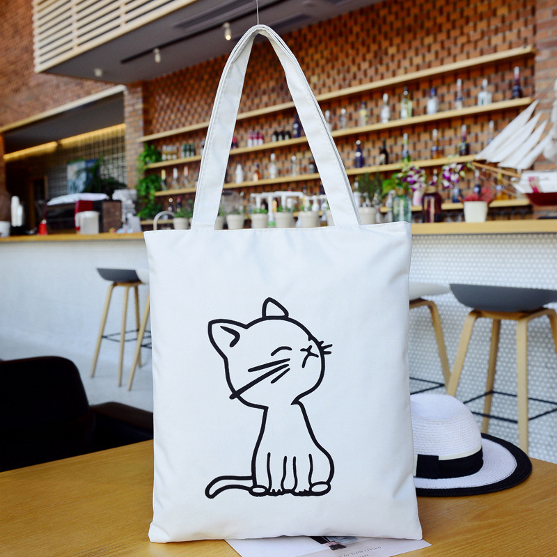 Casual Canvas Tote Handbag Women Cartoon Cat Shoulder Bag Female Summer Beach Bag Shoulder Bag Lady BB469
