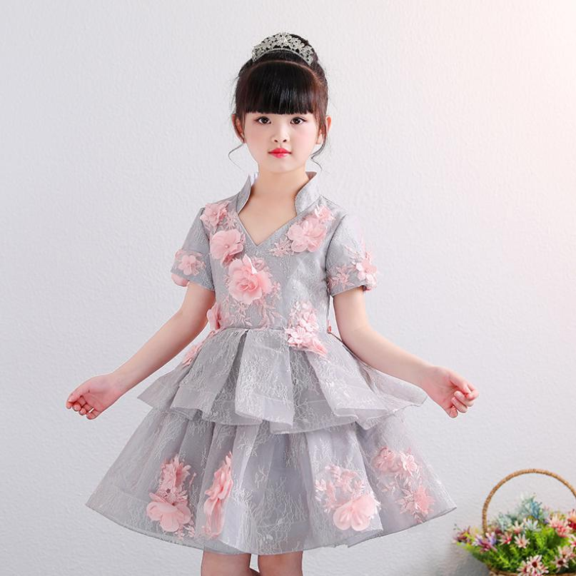 Children Ball Gown Baby Girl Princess Dress Summer Appliques Flower Spliced Dress Wedding Party Prom Kids Clothes Vestidos Y1205