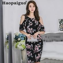 2019 Summer Sexy Dress Women Off-shoulder Corset Package Hip Dress Women Vintage Print Floral Dress Plus Size Roupas Feminina