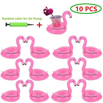 10 sztuk Flamingo nadmuchiwane uchwyt na napoje napój basen pływający uchwyt na kubek unosi się nadmuchiwane podstawki na basen Party woda zabawa tanie i dobre opinie WOMEN RH052-1 Vinyl Inflated-18x18cm Approx 8 5cm pink Flamingo Drink Holder Inflatable Drink Can Holder pool float Can cup drink bottle Mobile phone