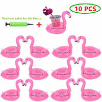 10PCS Flamingo Inflatable Drink Holder Drink Pool Floating Cup Holder Floats Inflatable Coasters for Pool Party Water Fun