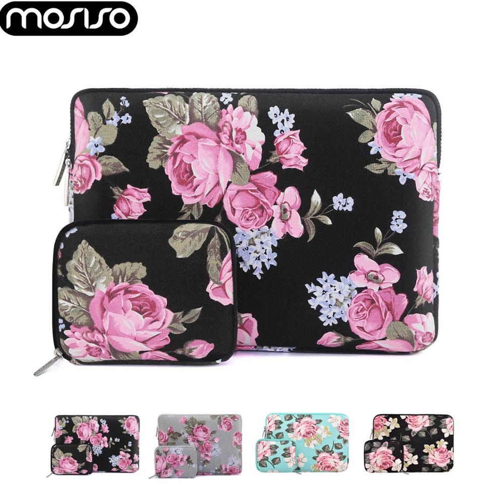 MOSISO Peony Pattern Laptop Sleeve Case For Macbook Air Pro Retina 11 13 13.3 14 15 16inch Computer Bags For Lenovo/Xiao Mi/Asus
