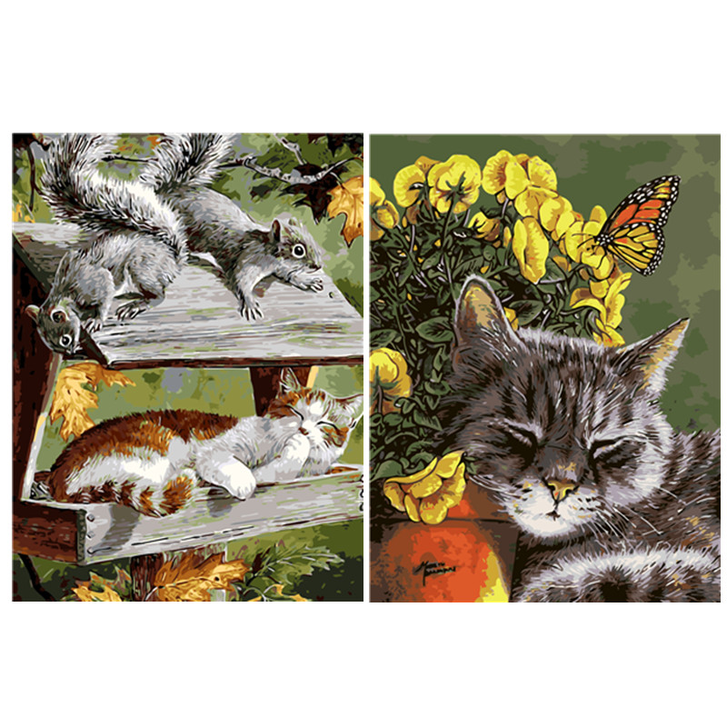 Frameless Sleeping Cat DIY Oil Painting By Numbers On Canvas Modern Wall Art Picture DIY Hand Painted For Living Room Home Decor