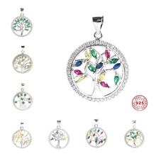 Doreen Box New Fashion 100% Real 925 Sterling Silver Pendants Tree of Life Charms Pendant for Women Jewelry Making DIY  1Piece