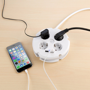 Image 5 - Multiple Power Strip Electric Sockets 4 way Round 2 USB Charger Switch Outlets Illuminated Wall Mounting Circular Roll up Cable