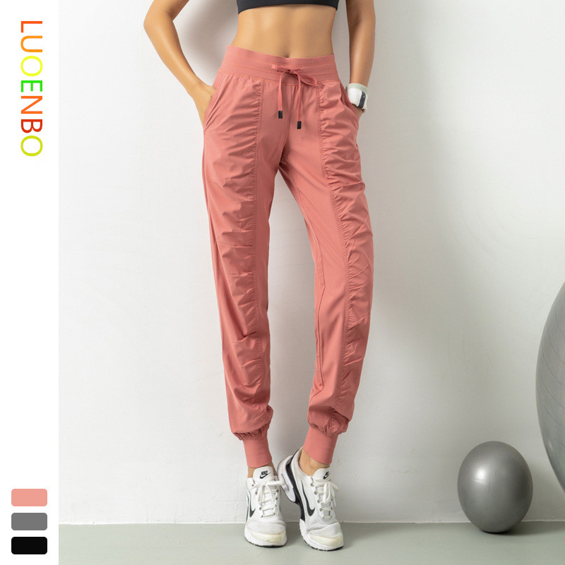 2020 New sweatpants Breathable WOMEN'S Tatting Fabric Slimming Loose-Fit Running Fitness Pants Capri Pocket Casual Beam Leg