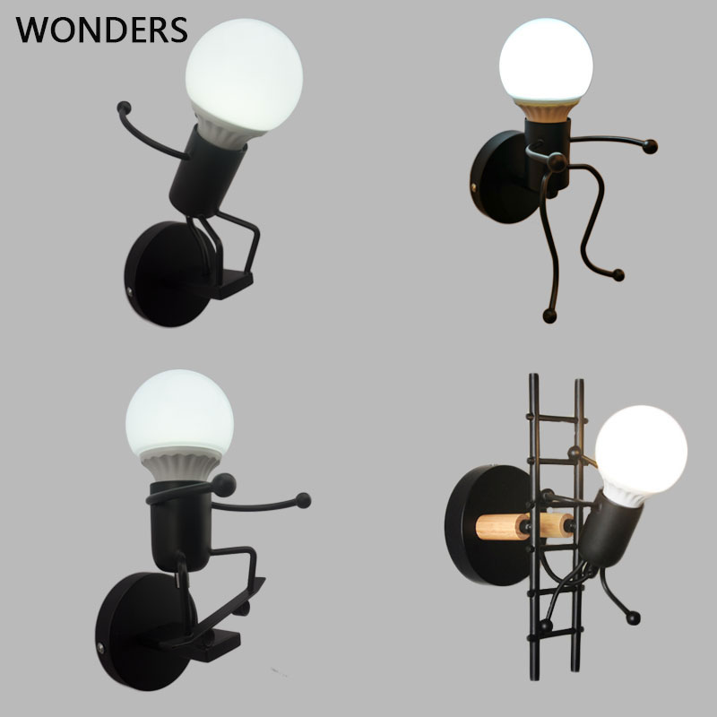Iron Led Wall Lamp American Creative Wall Lights Metal Cartoon Robot Sconce Wall Light Bedroom Children Room Luminaire