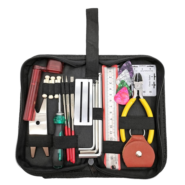 Guitar Repairing Tool Kit(26Pcs) Wire Plier,String Organizer,Fingerboard Protector,Hex Wrenches, Files, String Ruler Action Rule