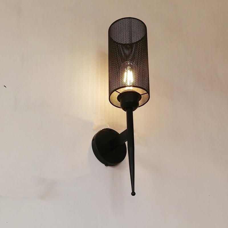 Creative Retro Wall Lamp Gauze Single Head Wrought Iron Light Loft Tea Restaurant Classic Personality American