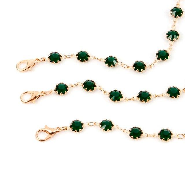 Фото модное зеленое и черное ожерелье чокер с кристаллами для женщин цена