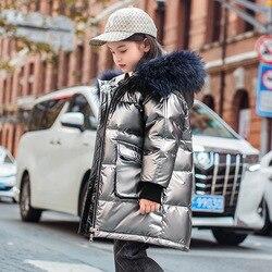 OLEKID -30 Degree Russian Winter Down Jacket For Girls Waterproof Shiny Girl Parkas 3-12 Years Kids Teenage Boys Outerwear Coat