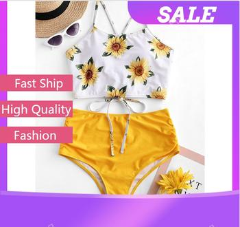 Bohemia Style Sexy Swimwear Women Summer Beach Swim Suits High Waist Bikinis Sets Female Sunflower Print Bikini Swimsuits Hawaii