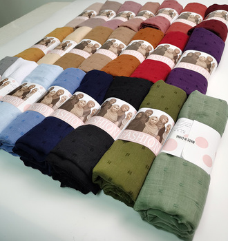 Pom COTTON Hijab Scarf Plain Soft Ball Shawls Muslim Scarves Headscarf Solid Color Wraps Turbans