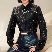 100% silk women shirts women black star printed blouses women quality blouse summer