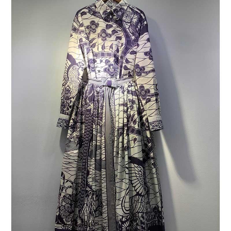 Cosmicchic 2020 Women Print 2 Piece Set Long Sleeve Shirt High Waist Vintage Maxi Skirt High Quality  Tie-dye Elegant Skirt Set