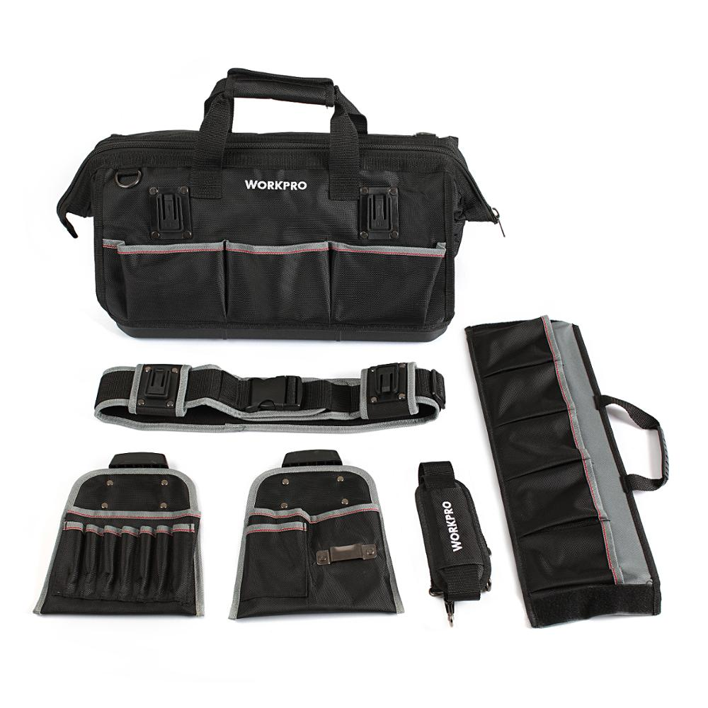WORKPRO Tool Bag Waterproof Tool Kit Bag With 2 Tool Belt Pouches Combo Large Capacity Bags