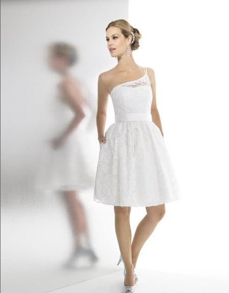 Custom Made Lace Fabric/satin Corded One Shoulder Open Back Natural Waist Knee Length Satin Sash Bridal Gown Bridesmaid Dresses