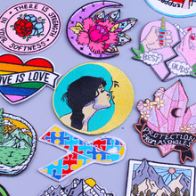 Cartoon Patch Moon Girl Embroidery Patch Iron On Patches For Clothes Gem Rainbow Heart