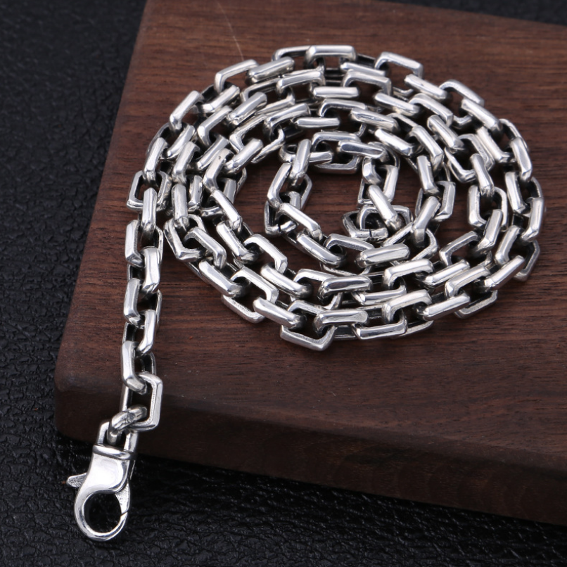 Тяжелая 925 пробы Серебряная 7 мм Простая цепочка для мужчин ожерелье мужское винтажное тайское серебряное стимпанк байкерское ожерелье s ювелирное изделие - 4