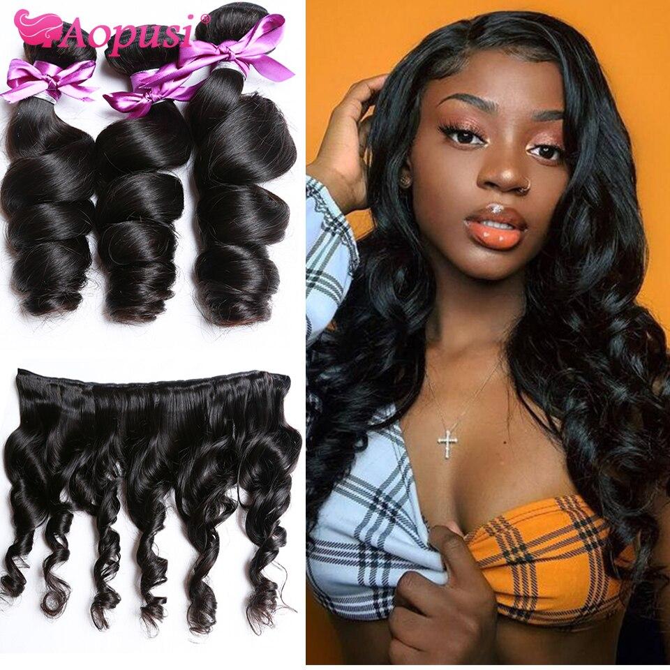 Aopusi свободная волна пряди человеческих волос для наращивания, вплетаемые пряди 1/3/4 шт. человеческие волосы пряди натуральных/угольно-черны...