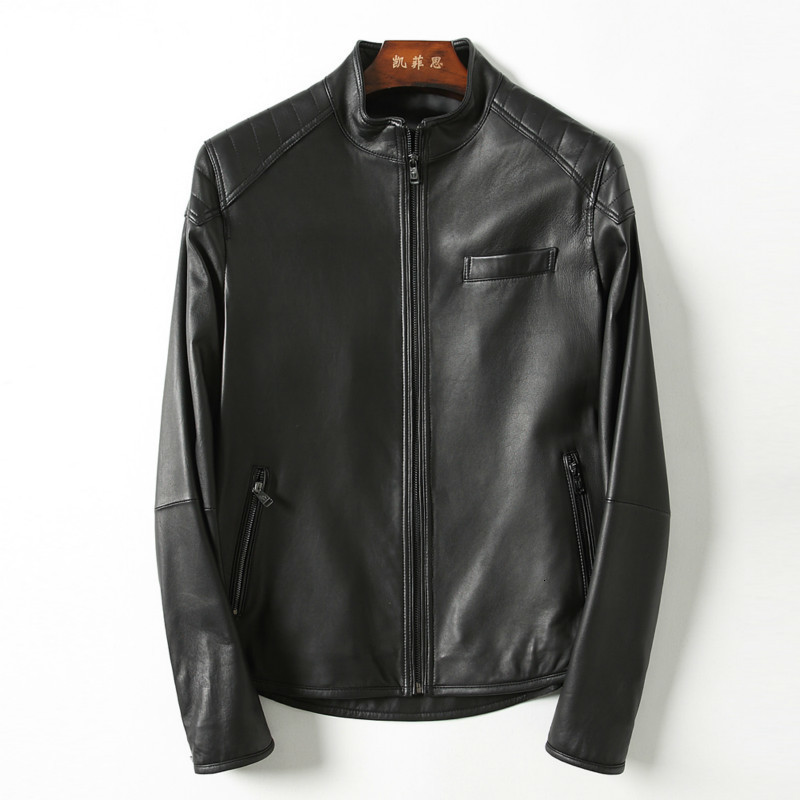 Mens Leather Jacket Bomber Motorcycle Genuine Leather Jacket Men Real Sheepkin Leather Coat Blouson Cuir Homme KFS18M003 KJ2174