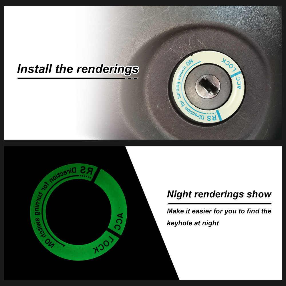 Cubierta de interruptor de encendido de coche 3D luminoso llavero agujero cubierta pegatina coche pegatinas productos para automóviles para ford focus 2/audi a3