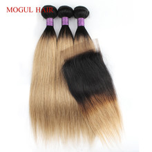 Mogul Hair 3 Bundles with Closure 200g/set Ombre Brown Auburn T 1B 30 Straight Body Wave Hair Weave 22 inch  Remy Human Hair